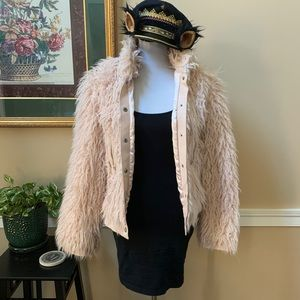 Vintage 90s Pastel Pink Shaggy Fur Leather Coat